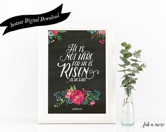 He is Risen, Easter Printable Wall Art Quote  //  INSTANT DIGITAL DOWNLOAD