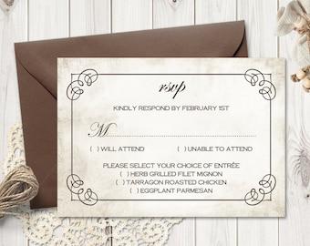 "Rustic RSVP Insert Template ""Wedding Rings"", Brown. DIY Printable Wedding Response Enclosure Cards. Editable Text, MS Word. Instant Download"