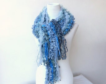 Blue knit scarf Chunky grey scarf Unique hand knitted scarves Colorful Scarf
