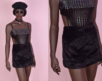 90s Black Persian Lamb Faux Fur Mini Skirt/ Small/ 27.5 Waist/ 1990s