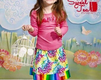 Rainbow  Garden  Skirt ( 18 mos, 24 mos, 2T, 3T, 4T, 5, 6, 7)