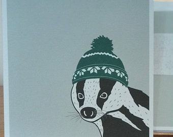 Festive Badger Christmas Cards and Envelopes (Pack of 4)