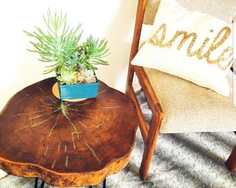 Turquoise Inlay Wood slice table - live edge