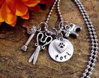 Dog Groomer Jewelry, Dog Groomer Necklace, Personalized Jewelry, Hand Stamped Jewelry