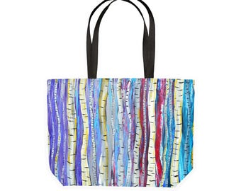 Birch Trees Shopping Tote - Large Canvas Reusable Shopping Bag, Eco-Friendly, Birch Trees, Aspen Trees, Abstract Trees, Red, Purple, Blue