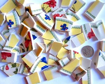 55 Broken China Mosaic Tiles, Tile Mosaic Pieces, Colorful Tiles, Floral Tiles, Broken Plate Pieces, Repurposed Dishes, Mosaic Craft Tiles