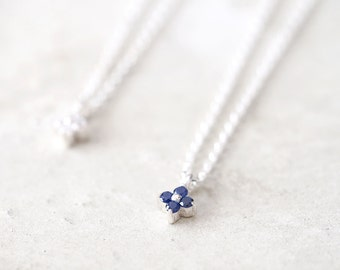 Micro Tiny Flower Necklace 925 Sterling Silver September Birthstone