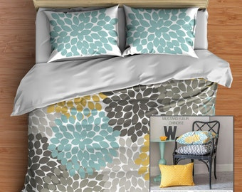 Custom Floral Bedding in Comforter or Duvet style features Best Selling Blue Gray and Yellow Dahlia Flower design