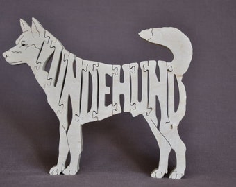 Norwegian Lundehund Dog Puzzle Wooden Toy Hand Cut with Scroll Saw