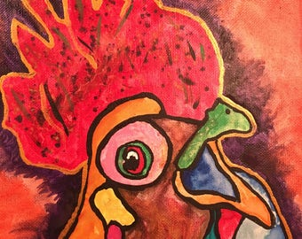 """rooster, chicken painting painting 8""""x10"""""""
