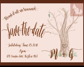 Save The Date Tree Design Invitation