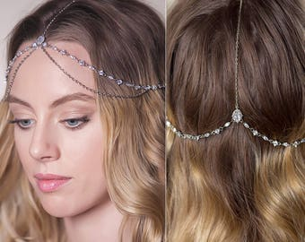 silver Bridal Headpiece, bridal hair accessories, bohemian headpiece, bride headpieces, wedding accessories, wedding headpiece, prom. H066-S