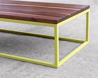 Hardwood Walnut Coffee Table with Steel Base Painted
