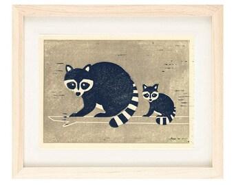 RACCOONS Linocut Reproduction Art Print: 4 x 6, 5 x 7