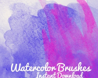 10 Watercolor Brushes Pattern Photoshop .abr Brush Set