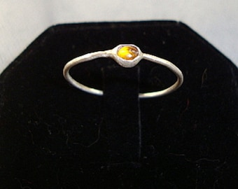 Baltic Amber ring - reclaimed recycled sterling silver - custom size - Fair Trade, earth friendly and conflict free