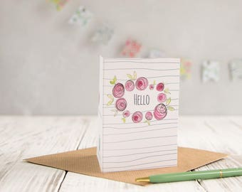 Mini A7 greetings card, hello notecard, small cards, thank you note,