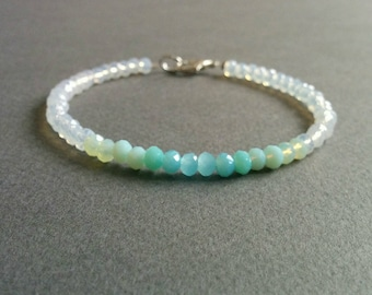 Moonlight in the shades of blue. Moonstone/aquamarine delicate beaded bracelet. Free shipping.