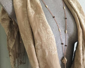 Cream And Bronze Seashell Necklace