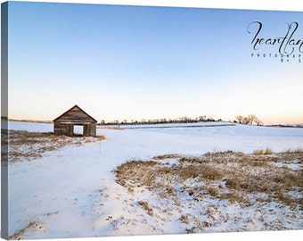 Photo Canvas, Iowa Barn, Country Landscape, Winter Morning, Sunrise Photography, Nature Photo, Blue Sky Image, Rustic Decor, Cottage Chic