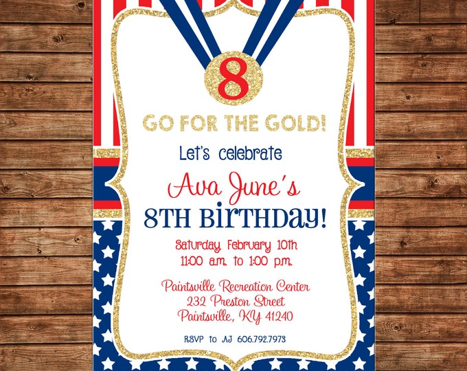 Girl or Boy Invitation Red White Blue Gold USA Olympics Birthday Party - Can personalize colors /wording - Printable File or Printed Cards