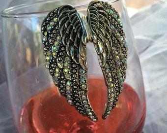 Gold Angel Wings Wine Glass Marker