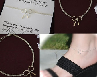 6 Bow Bridesmaids Anklets, Tie the Knot Anklets, Bridesmaid Gifts, Sterling Silver Bows, Silver Knot Anklets, Thank you card, Anklet