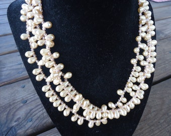 Faux Pearl Three Strand Necklace