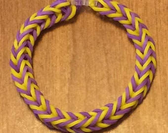 Purple and Yellow Fishtail Rainbow Loom Rubber Bracelet