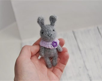 Miniature rabbit Tiny Cute bunny Crochet rabbit Easter decoration Amigurumi rabbit Knitted toy Soft plush bunny Fluffy rabbit Blyth friend