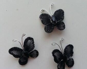 lot de 3 minis papillons noir 25*25mm