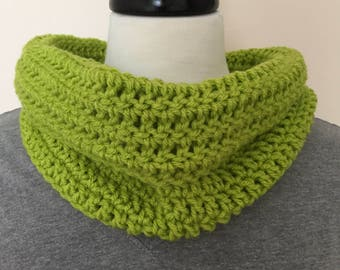 Green Cowl, Lime Green Neck Warmer , Spring Green Infinity Scarf,  Circle Neck Scarf, Wear Fall,  Winter,  Spring