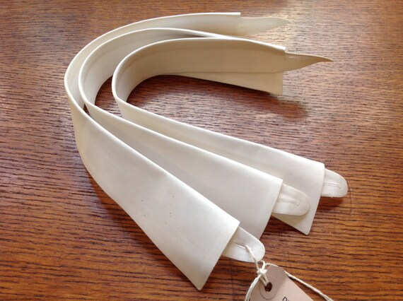 Vintage 1930s 30s set of three white cotton starched removable shirt collars 15""