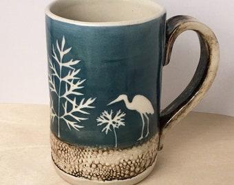 Stork Mug, handmade mug, coffee mug,