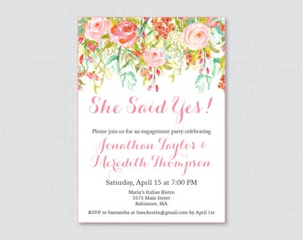 Pink Floral Engagement Party Invitation Printable or Printed - Flower Engagement Party Invitations, Pink and Gold Flower Garden Party 0004