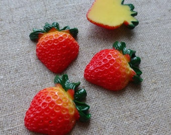 free UK postage- pack of 10 Fruit Resin Cabochon, Strawberry, 23x19x6mm