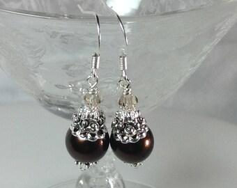 Dark Brown and Beige Pearl Bridesmaid Earrings