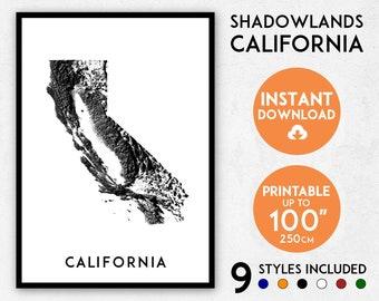 Shadowlands California map print, California print, USA map, California poster, California wall art, Map of California, California art