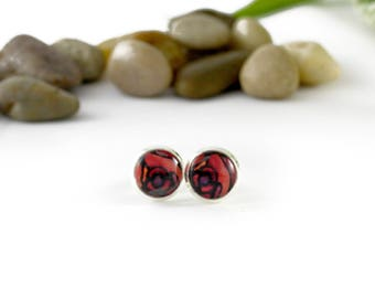 Red Rose Stud Earrings - Burgundy Floral Jewelry - Handmade Earrings - Silver Floral Earrings - Post Earrings - Glass Jewelry - Red Roses