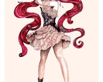 Alexander McQueen AW16 'Vanity Obsessions' No.2 Fashion Illustration Wall Art Print