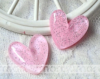 10PCS Pink Heart Transparent Resin Flatback Cabochon For Craft Decor 2.7x2.6cm