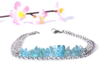 Ethnic jewelry, blue apatite bracelet, multistrand bracelet, silver bracelet, blue gemstone jewelry, women gift idea, ethnic bracelet shin