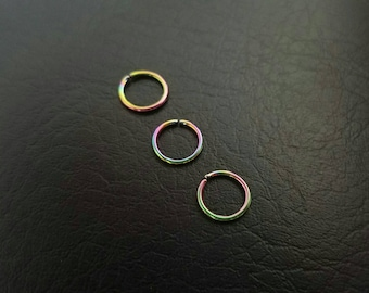 "18g 5/16"" (8mm) Rainbow Seamless Septum Daith Nose Ring Hoop Eyebrow Earring Nipple Rings 316L Steel Jewelry"