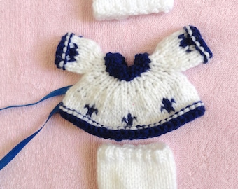 """Hand Knitted Dolls Clothes for 3,5-4""""  OOAK  Doll (# 157)"""