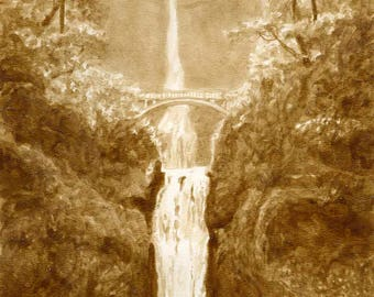 beer art, Multnomah Falls View, painted using only beer, waterfall, Portland, Oregon, Columbia Gorge