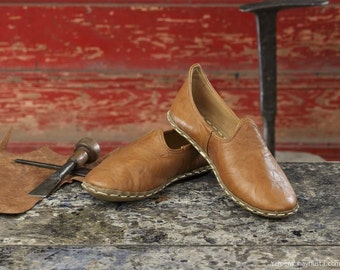 Turkish Yemeni Organic Hand Made Genuine Leather Shoes  Blue. Number feet from 34 to 47
