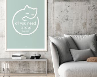 Cat Poster, Cat Art, Cat Lover Poster, Cat Lover Print, Crazy Cat, Cat Love, cat wall hanging, Cat Picture Gift, home decor for cat lover