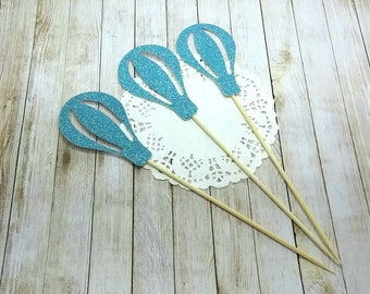 Set of 10 decorations for Cupcakes (cupcake toppers) - hot air balloon blue color with glitter for cake decoration
