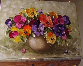 Original Oil Painting, Vase of Pansies,Palette Knife Oil Painting