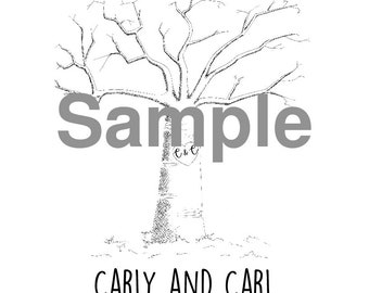 Personalised Finger Print Tree - SIZE A4